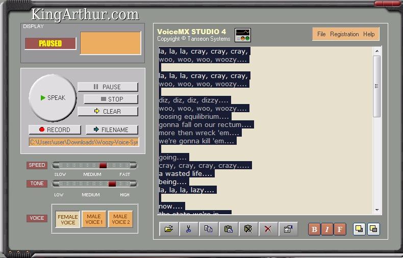Voice Synthesizer Saying Woozy